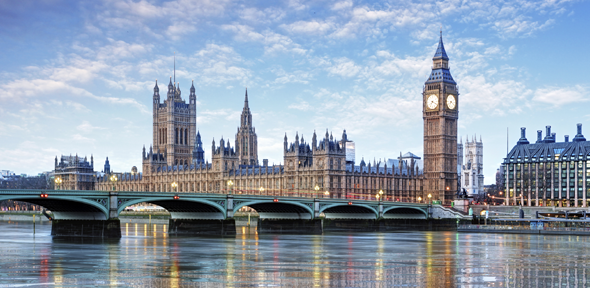 The Palace of Westminster and Westminster Bridge in London