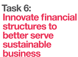 Innovate financial structures to better serve sustainable business