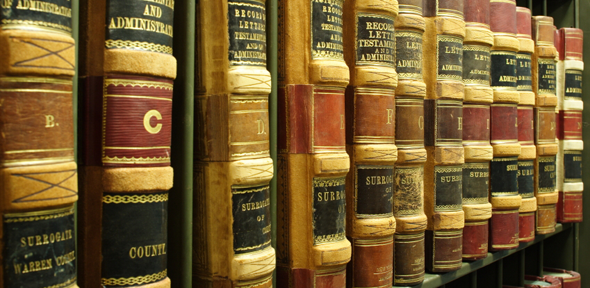 Shelf of large leather bound books with gold writing