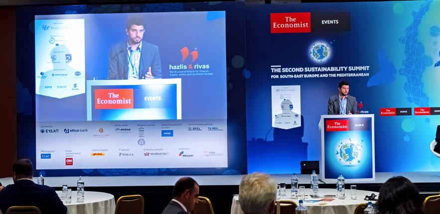 Aris Vrettos speaking at The Economist Second Sustainability Summit